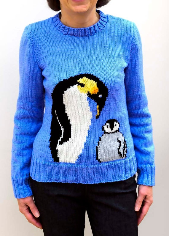 Knitting Pattern For Penguin Sweater : Emperor Penguin and chick Motif sweater knitting pattern, sizes: 26 to 38 inc...