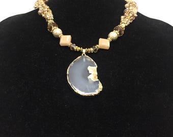 Coral  Quartz & Crystal Statement Necklace