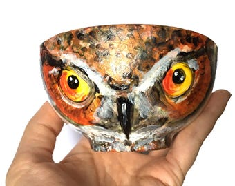 OWL: Woodland Creatures Collection, Hand-painted Porcelain Decorative Art Bowl