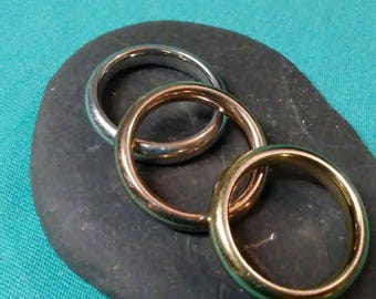 Vintage Set Of Three Milor Italy Stainless Steel Multi Color Band Rings