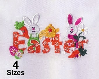 Spring Chicken and Rabbit Easter Embroidery Design