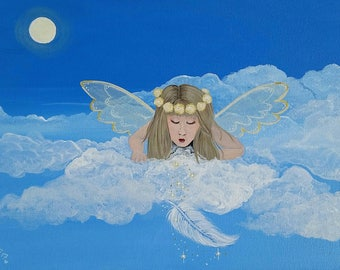 Gift From Heaven. Vibrant modern angel painting.