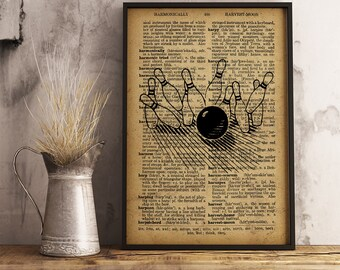 Bowling print Vintage style dictionary page Bowling decor,  Bowling wall art, bowling player gift, bowling center decor, Bowling strike V24