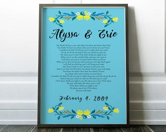 By Your Side Wedding Song Anniversary Gift Lyric Art Unique