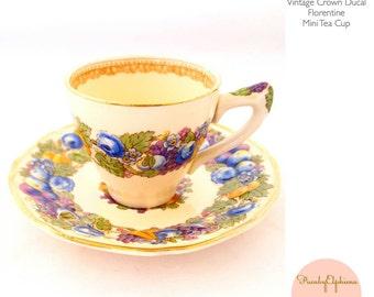 Vintage Tea Cup Crown Ducal Demitasse Miniature Cup And Saucer Fruit Florentine