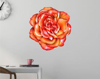 Flower Wall Decal - Floral Wall Decor - Peach Rose - Rose Decal - Vinyl Wall Decor - Flower Decals - Flower Wall Decals - Flower Decal