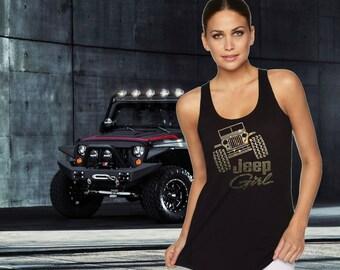 Jeep Girl Adult Rhinestone Tank Top