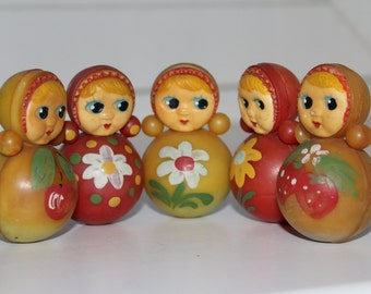 Set of 5 Soviet roly-poly toys . Nevalyashka. Vintage Celluloid. Tilting doll USSR. tilting doll. Soviet toy
