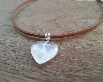 Quartz Choker Rock Crystal jewelry Crystal Quartz pendant Quartz Heart necklace Healing Coker Gemstone necklace Natural Crystal pendant