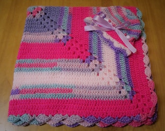 "NEW Handmade Crochet 29"" Baby Blanket and Hat/Beanie Set - Hot Pink Striped - A Wonderful Baby Shower Gift!! - SEE NOTE!"
