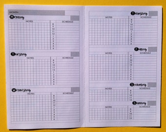 The Weekly Agenda (WO2P) Traveler's Notebook Insert - Choose Your Size