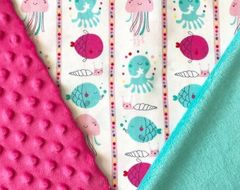 Under the Sea Baby Blanket, Fish Baby Blanket, Baby Girl Blanket, Minky Baby Blanket, Personalized Baby Blanket, Stroller Blanket