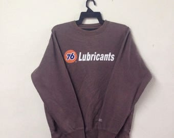 VINTAGE 76 LUBRICANT union gasoline crewneck sweatshirt big logo spell out