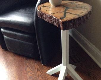 Live Edge Side Table -Lichtenberg Figure Basswood Slab End Table