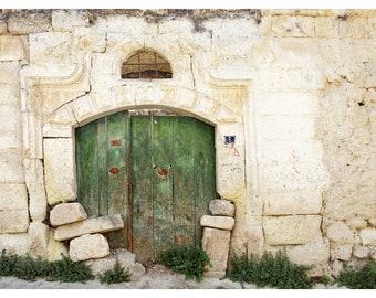 old green door, rustic home decor, fine art photography, door photography, travel print, Cappadocia, Turkey, patina, ancient architecture