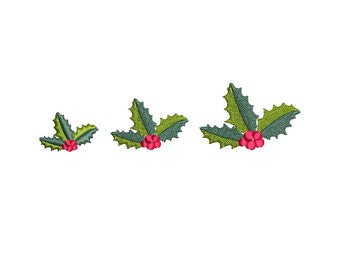 Holly Leaves - Mini Christmas Machine Embroidery Design. 3 sizes. Instant download