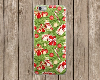 iPhone 5/5s/SE   iPhone 6/6s   iPhone 6 Plus/6s Plus   Green Christmas Presents Pattern iPhone Case