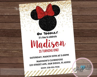 Minnie Mouse Party Invitation, Minnie Mouse Red and Gold Invitation, Minnie Mouse Chalk Invitation, Minnie Mouse Birthday Red, Digital File