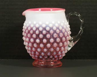 Lovely Fenton Art Glass Cranberry Opalescent Hobnail Squat Pitcher