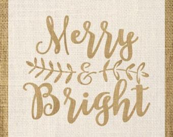 Merry & Bright STENCIL / Holiday Stencil / One-Time Use Adhesive Vinyl Stencil / Reverse Vinyl Stencil / Vinyl Decal