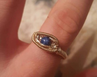 Blue saphire gold and silver wirewrap ring