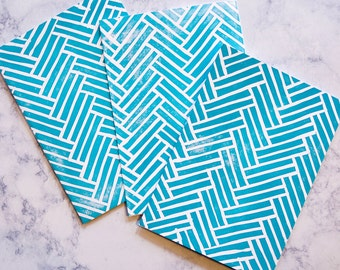Teal Herringbone Pattern Greeting Card, Hand-stamped Linocut, Block Print, 5x7 Blank Card