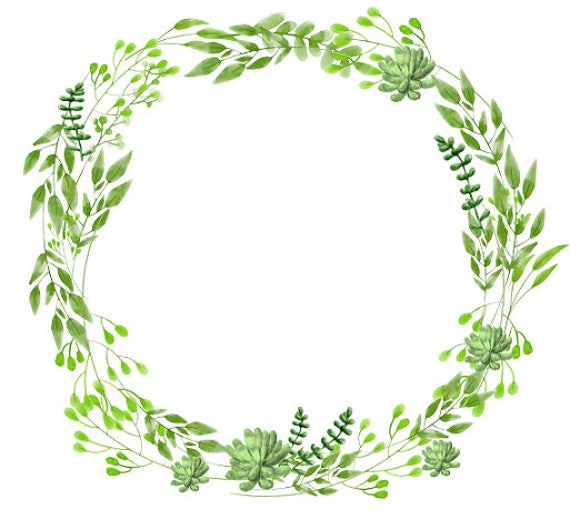 Greenery clipart succulents clipart watercolor wreath for Watercolor greenery