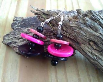 Pink & Black Dangle Button Earrings