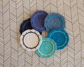 Crocheted Cotton Coasters (Set of 6)