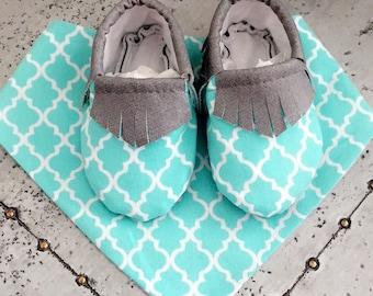 Baby Teal Fringe Moccasins. Printed Teal & White toe!