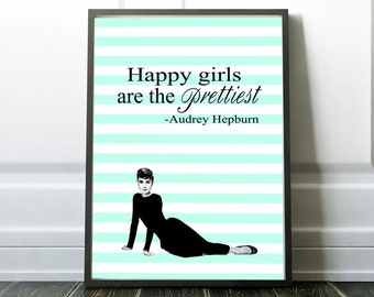 Audrey Hepburn print, breakfast at tiffany's wall art, Quote Printable Art, Happy girls are the prettiest print,celebrity print,make up room