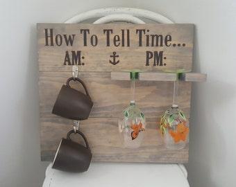 Nautical How To Tell Time coffee mug/wine rack