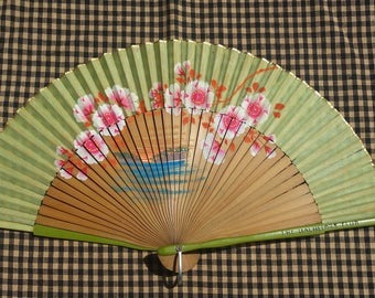 Fantastic Hand Painted, Oriental Bamboo hand fan from 1940's America 'The Bachelors Club' Advertising Memorabilia Made in Occupied Japan