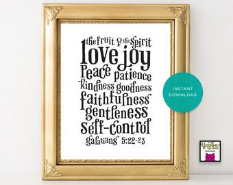 Fruit of the Spirit  Love Joy  Peace  Patience Kindness Goodness Faithfulness Gentleness Self-Control Scripture Bible Wall Art Floral