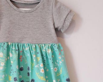 Flower Garden block dress, girls dress, toddler, handmade, dresses, baby dress, newborn, baby gift, flower print, baby gift