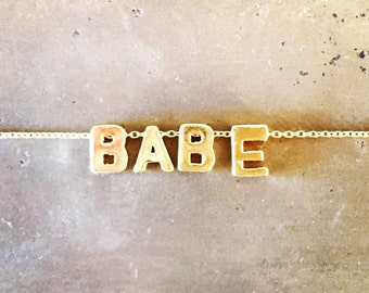 Gold Vermeil BABE Necklace on a Gold Filled Chain