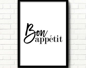 Bon Appetit Sign Bon Appetit Print Kitchen Printable Decor Kitchen Wall  Poster French Print Dining Room