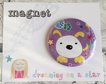 Fridge Magnet, Kawaii Magnet, Cute magnet, Party Favors, Cute Gifts, Birthday gift, Dog Magnet, Round Magnet, 58mm magnet, Office Decor