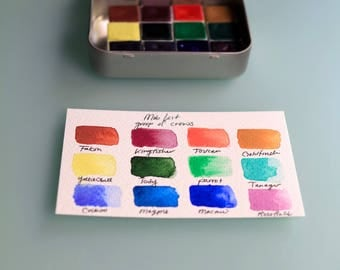 Aquarelle Watercolor Handmade Paint Set - MOB kit - 12 half pans and waterbrush included