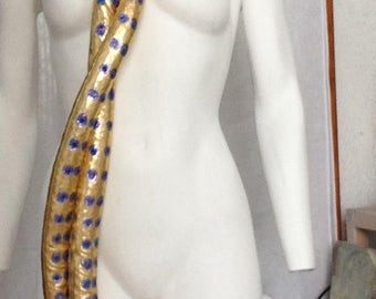 Tentacle scarf in shiny gold lycra, Octopus disco tentacles