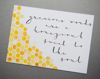 """Gracious Words Are A Honeycomb Print // 5x7"""" / 6x8"""" / 8x10"""" // Bible Verse Charity Print // Yellow Watercolour Modern Calligraphy Print"""