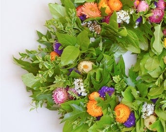 Celebrate Summer Wreath | Summer Wreaths for Front Door | Statice Wreath | Oak Wreath | Front Door Wreaths | Summer Outdoor Wreath