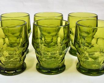 Set of 6 Anchor  Hocking Olive Green Glasses/Glassware