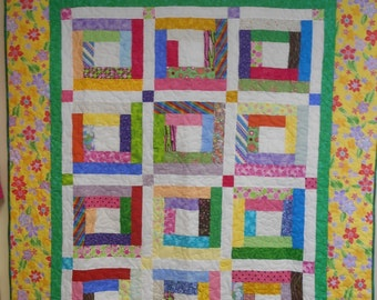 "Twin Size Quilt, Twin Size Bed Quilt, Bright and Scrappy Log Cabin Quilt, Throw Quilt 60"" x 73"""