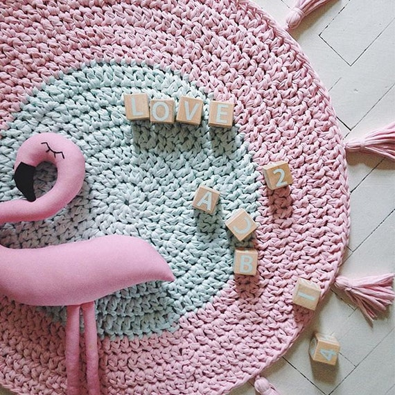 Handmade crochet rug - mint and pink rug - round cotton kids rug - nursery decor
