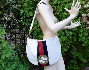 GUCCI 1990 Grained White Leather and Strap  Hobo Bag