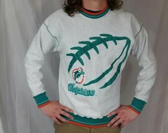 90s Miami Dolphins Sweatshirt • Size LARGE • Vintage Dolphins Sweatshirt • Pullover NFL Sweatshirt • 90s Sweatshirt • Miami Football