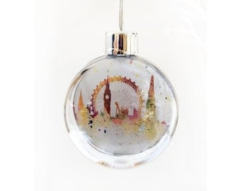 London Bauble, Christmas tree decoration of London, Tower Bridge, London Eye, Big Ben,The Shard, abstact watercolour painting