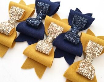 Large Felt Bow, Autumn Felt Hair Bows, Hair Clips, Handmade Felt Clips, Mustard Glitter Large Bows, Navy Felt Glitter Large Bows