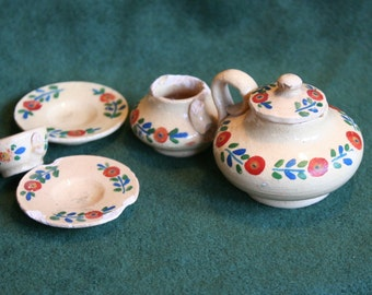 Miniature Pottery Dishes: Beige with Red, Green, and Blue Floral Pattern